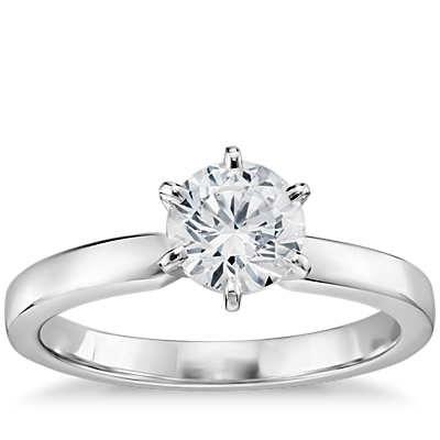 3/4 Carat Preset Six-Prong Low Dome Comfort Fit Solitaire Engagement Ring in 14k White Gold (2.5mm)