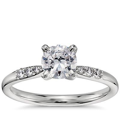 3/4 Carat Preset Petite Diamond Engagement Ring in Platinum