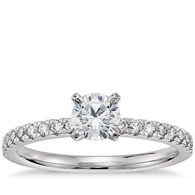 1/2 Carat Preset Petite Pavé Diamond Engagement Ring in Platinum
