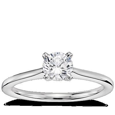 1/2 克拉14k 白金预镶嵌小巧单石订婚戒指