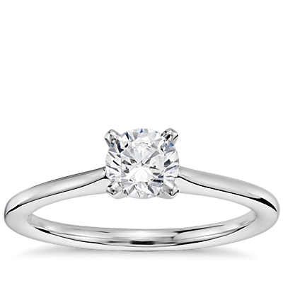 1/2 Carat Preset Petite Solitaire Engagement Ring in 14k White Gold