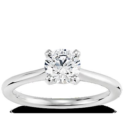 3/4 克拉14k 白金预镶嵌小巧单石订婚戒指