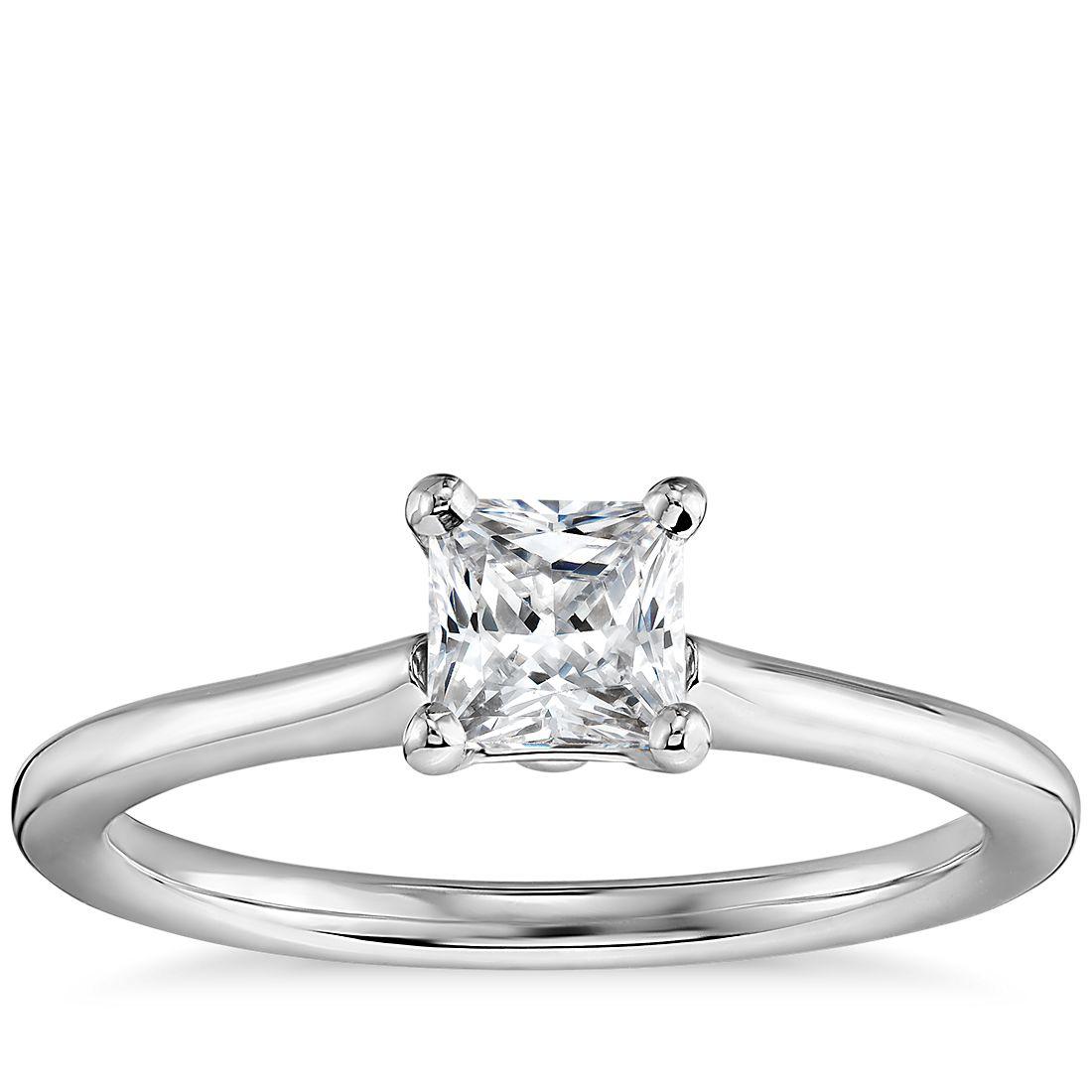 1/2 Carat Preset Princess-Cut Petite Solitaire Engagement Ring in 14k White Gold