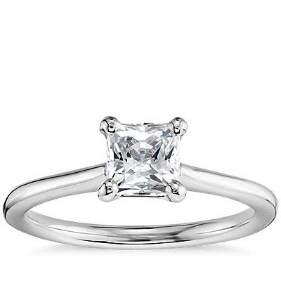 3/4 克拉预镶嵌公主方形切割14k 白金小巧单石订婚戒指