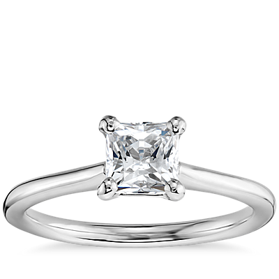 3/4 Carat Preset Princess-Cut Petite Solitaire Engagement Ring in 14k White Gold