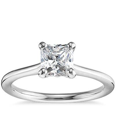 1 克拉预镶嵌公主方形切割14k 白金小巧单石订婚戒指