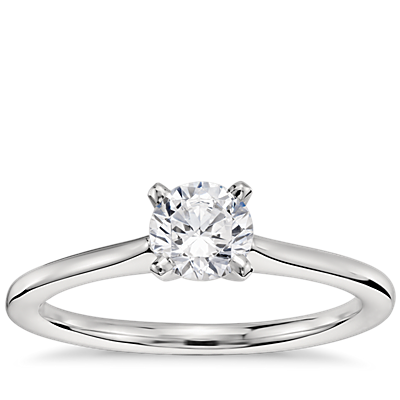 1/2 Carat Preset Petite Solitaire Engagement Ring in Platinum