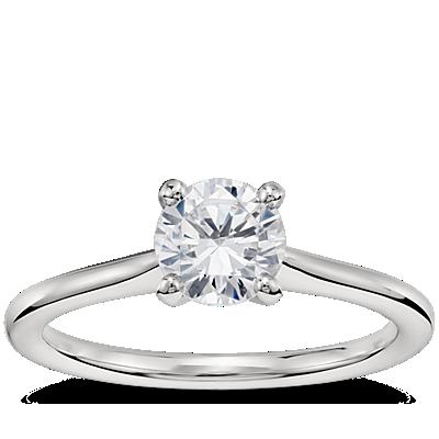 3/4 Carat Preset Petite Solitaire Engagement Ring in Platinum