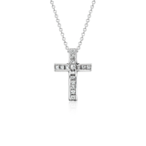 Princess Cut Diamond Cross Pendant in 18k White Gold (1/2 ct. tw.)