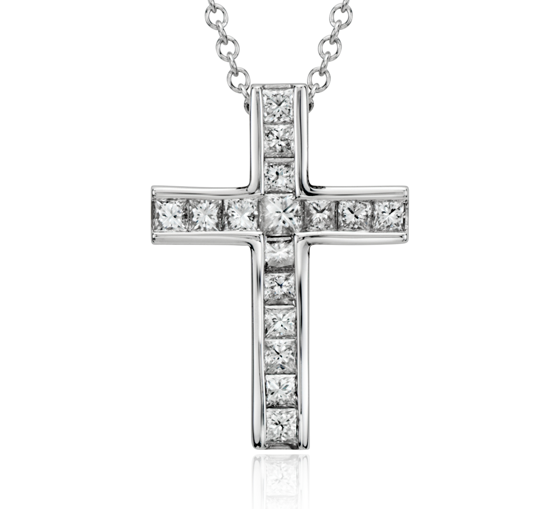 Princess Cut Diamond Cross Pendant in 18k White Gold