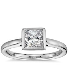 Princess Cut Bezel Set Solitaire Engagement Ring in 14k White Gold
