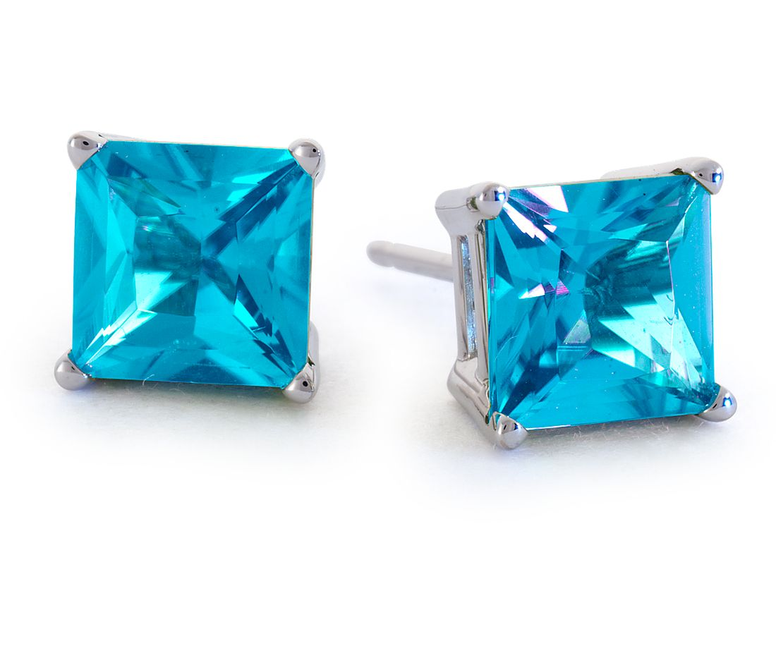 Princess Cut Blue Topaz Stud Earrings in 18k White Gold (6mm)
