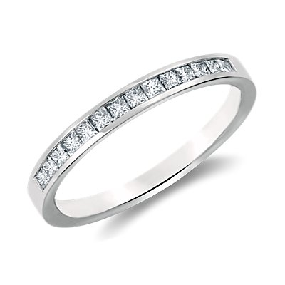 Channel Set Princess Cut Diamond Ring in 14k White Gold