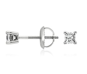 Princess-Cut Diamond Stud Earrings in 18k White Gold (1/3 ct. tw.)