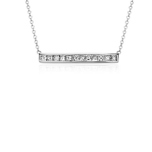 Princess-Cut Diamond Bar Necklace in 18k White Gold (3/4 ct. tw.)