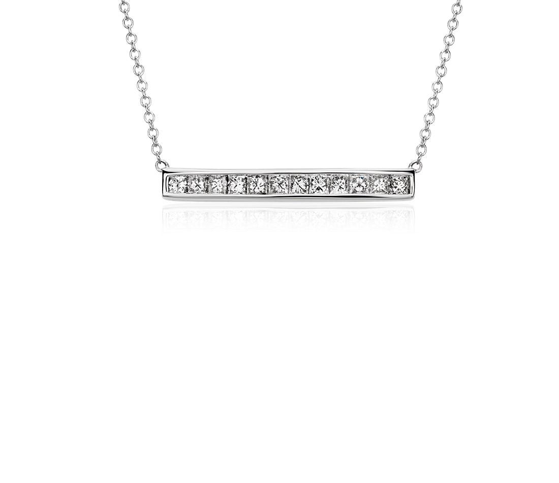 Collier barre diamant taille princesse en or blanc 18carats (3/4carat, poids total)
