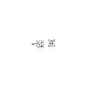 18k White Gold Four-Claw Princess Diamond Stud Earrings (1/4 ct. tw.)
