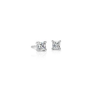18k White Gold Four-Claw Princess Diamond Stud Earrings (1/2 ct. tw.)