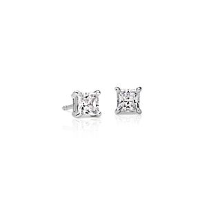 18k White Gold Four-Claw Princess Diamond Stud Earrings (1 ct. tw.)