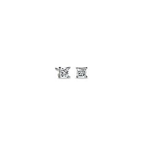 14k White Gold Four-Claw Princess Diamond Stud Earrings (1/4 ct. tw.)