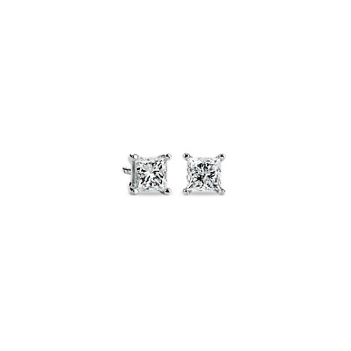 Princess-Cut Diamond Earrings in Platinum (1 ct. tw.)
