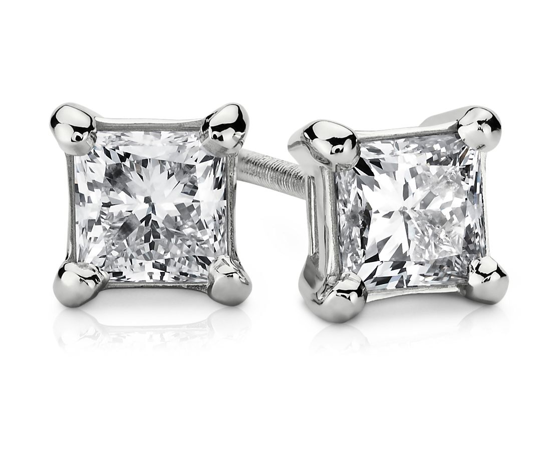 18k White Gold Princess-Cut Diamond Stud Earrings (3/4 ct. tw.)