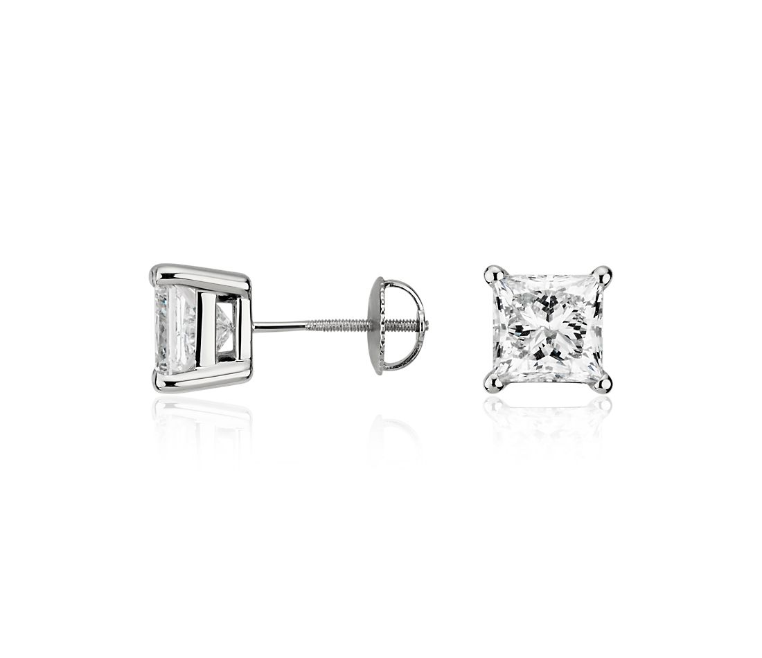 Essential Princess-Cut Diamond Earrings in 14k White Gold (4 ct. tw.)