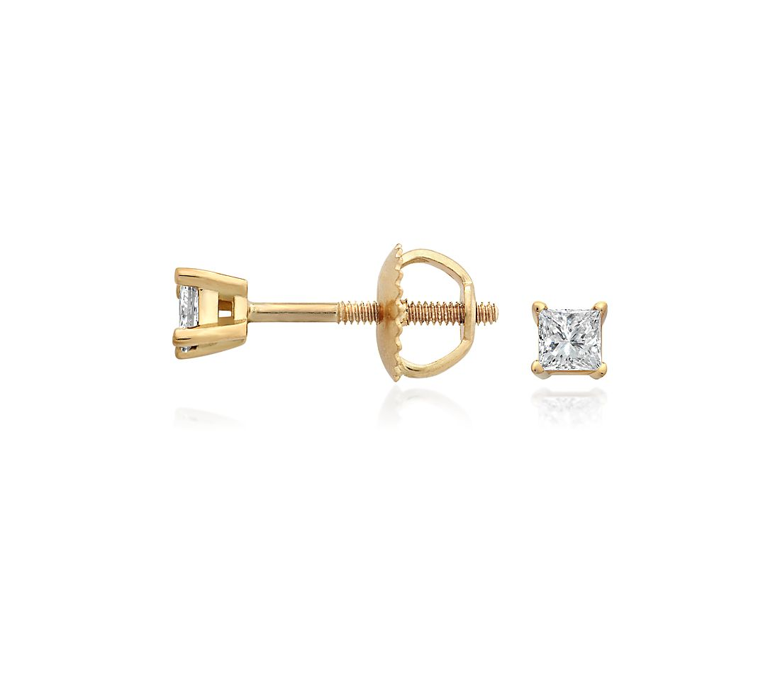 18k Gold Princess-Cut Diamond Stud Earrings (1/4 ct. tw.)