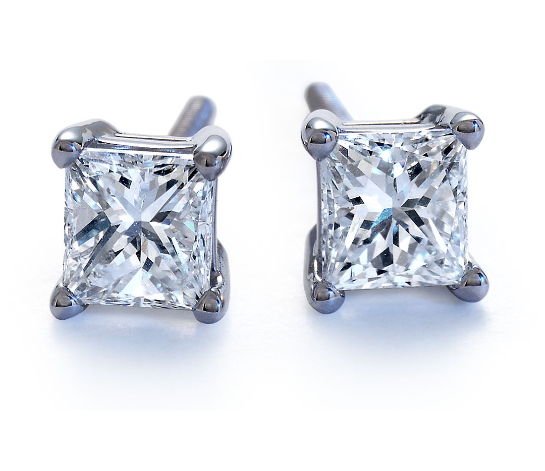 Platinum Princess-Cut Diamond Stud Earrings (1/2 ct. tw.)