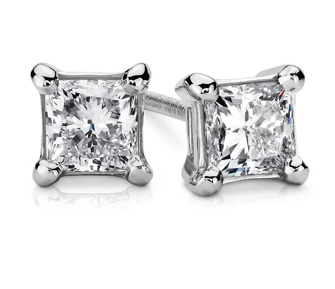 Platinum Princess-Cut Diamond Stud Earrings (3/4 ct. tw.)