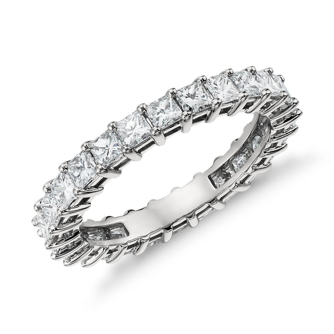 Bague d'éternité diamant taille princesse en platine (2carats, poids total)