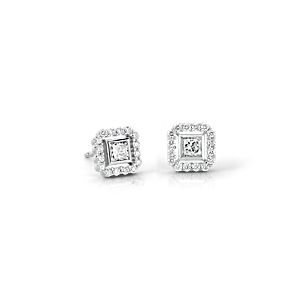 NEW Princess-Cut Diamond Floating Halo Earrings in 18k White Gold