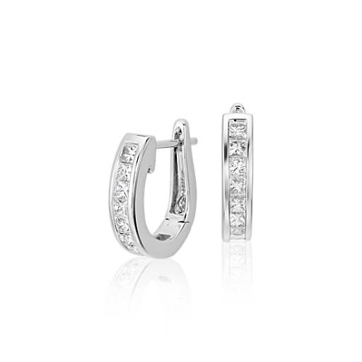 Princess-Cut Hoop Diamond Earrings in 18k White Gold (1 ct. tw.)