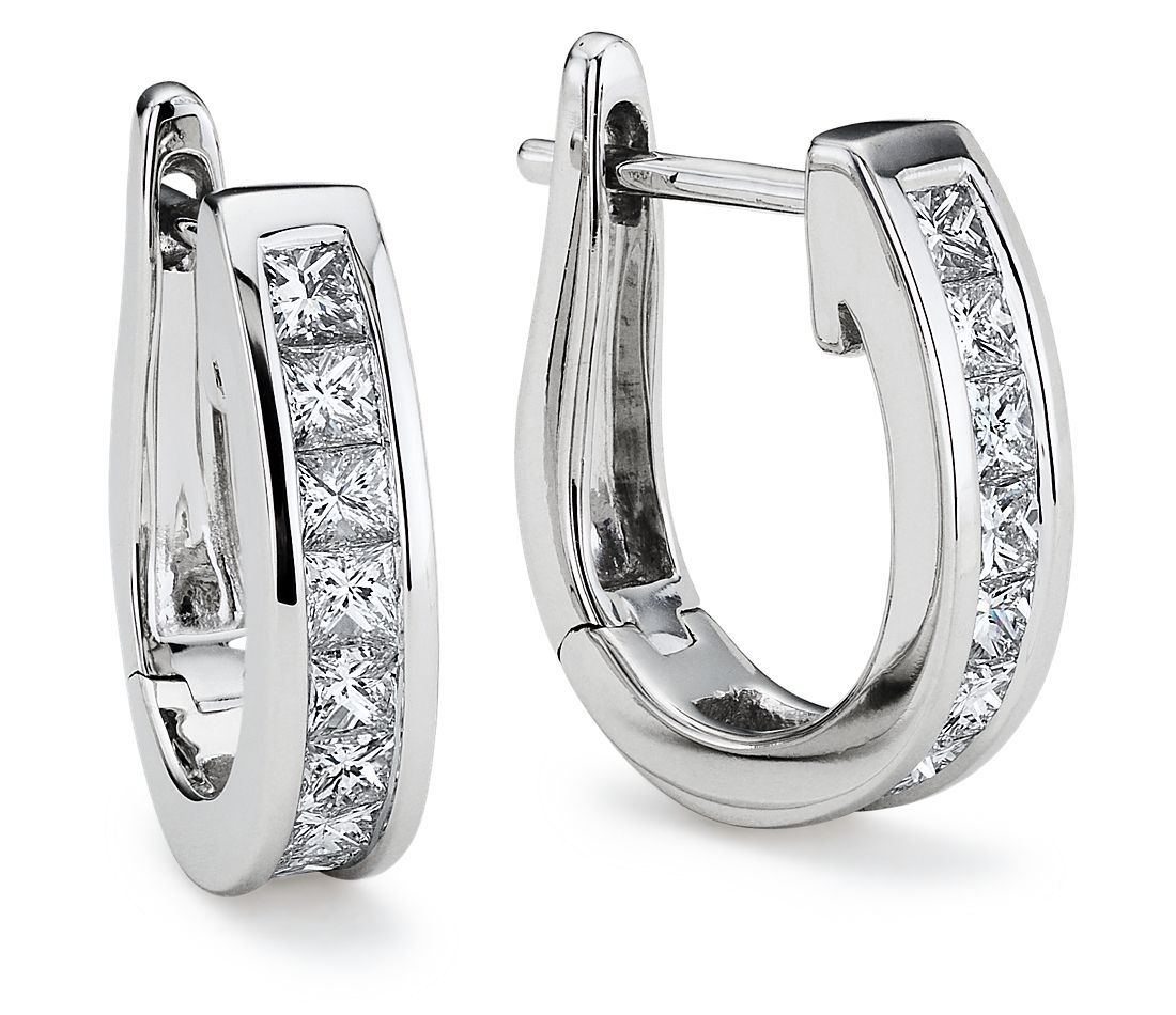 Princess-Cut Hoop Diamond Earrings in 18k White Gold (1 ct. tw.)