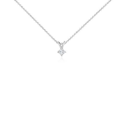 Princess-Cut Diamond Solitaire Pendant in 18k White Gold (1/4 ct. tw.)