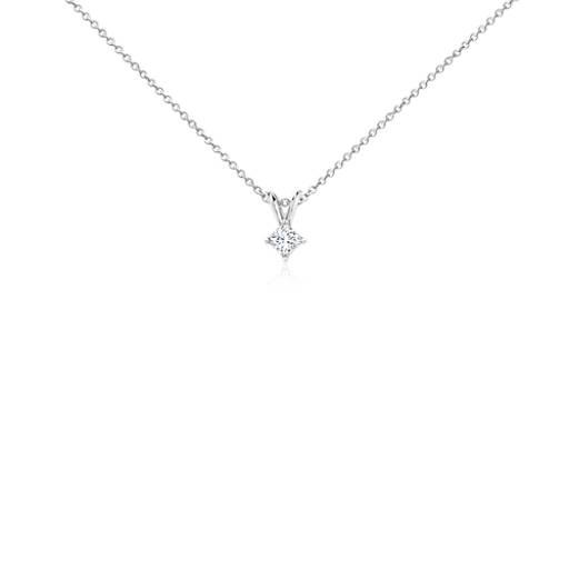 Pendentifs solitaire diamant taille princesse en or blanc 18carats (1/4carat, poids total)