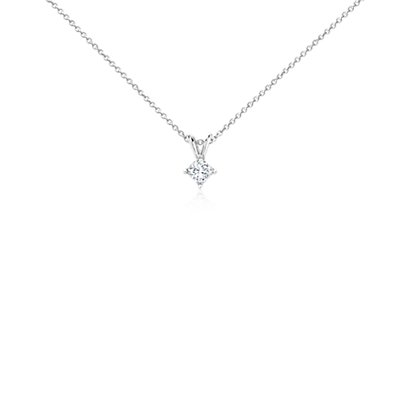 Princess-Cut Diamond Solitaire Pendant in 18k White Gold (1/3 ct. tw.)