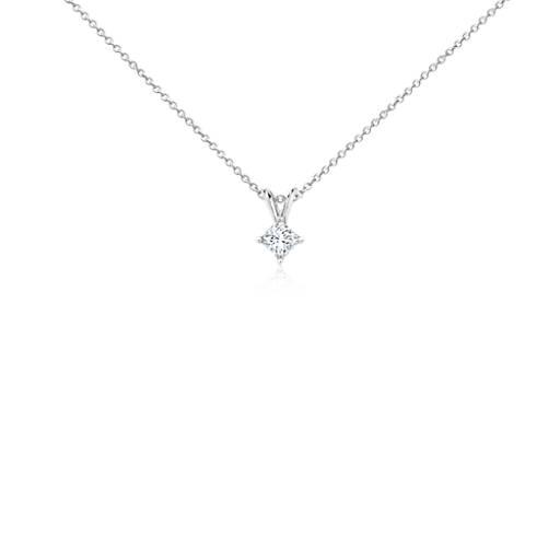 Or blanc 18carats Pendentif à diamant princesse quatre griffes (1/3carat, poids total)
