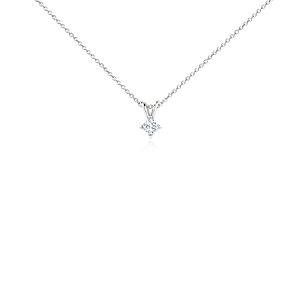 Pendentif à diamant princesse quatre griffes en platine (1/4carat, poids total)