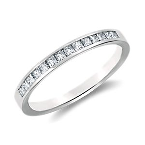 Bague diamants sertis barrette taille princesse  en platine