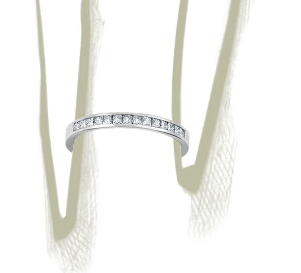 Channel Set Princess Cut Diamond Ring in Platinum