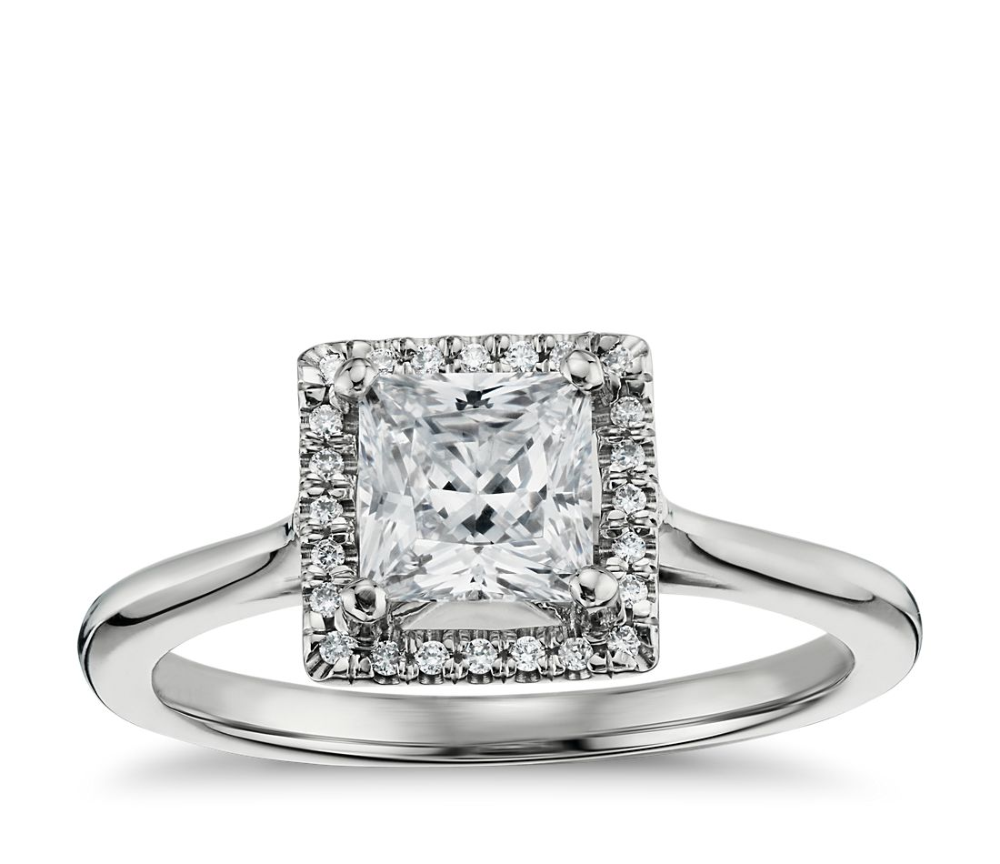 Princess-Cut Floating Halo Diamond Engagement Ring in 14k White Gold