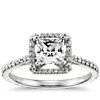 Princess-Cut Halo Engagement Ring in 14k White Gold