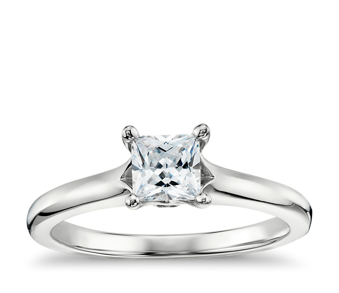 Princess-Cut Surprise Diamond Solitaire Engagement Ring in 14k White Gold