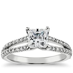 Princess-Cut Split Shank Engagement Ring in 14k White Gold