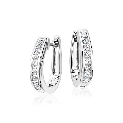 Princess Cut Hoop Diamond Earrings in 18k White Gold (1 1/2 ct. tw.)