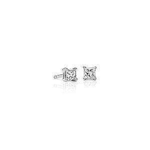 Puces d'oreille Diamant Princesse en or blanc 18ct (3/8carats, poids total) - F / VS