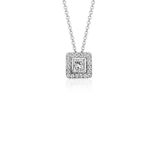 Princess Cut Diamond with Pavé Halo Pendant in 14k White Gold (1/2 ct. tw.)