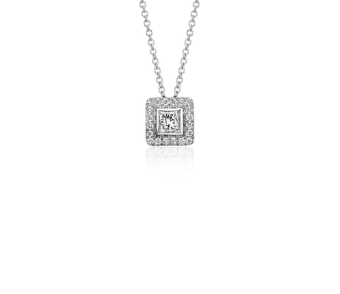Princess Cut Diamond with Pavé Halo Pendant in 14k White Gold