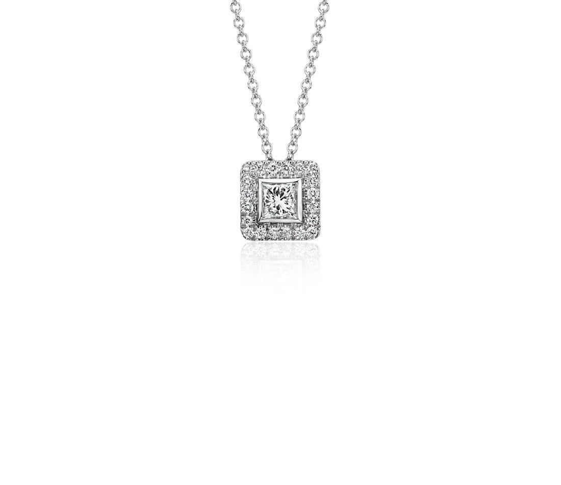 Princess Cut Diamond with Pavé Halo Pendant in 14k White Gold